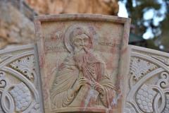 Образ прп. Харитона над входом в гробницу