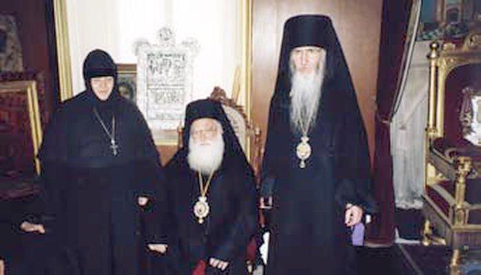 Архиепископ Марк (Арндт) и игумения Моисея на приеме у Иерусалимского Патриарха Диодора (†2000), Иерусалим 1997