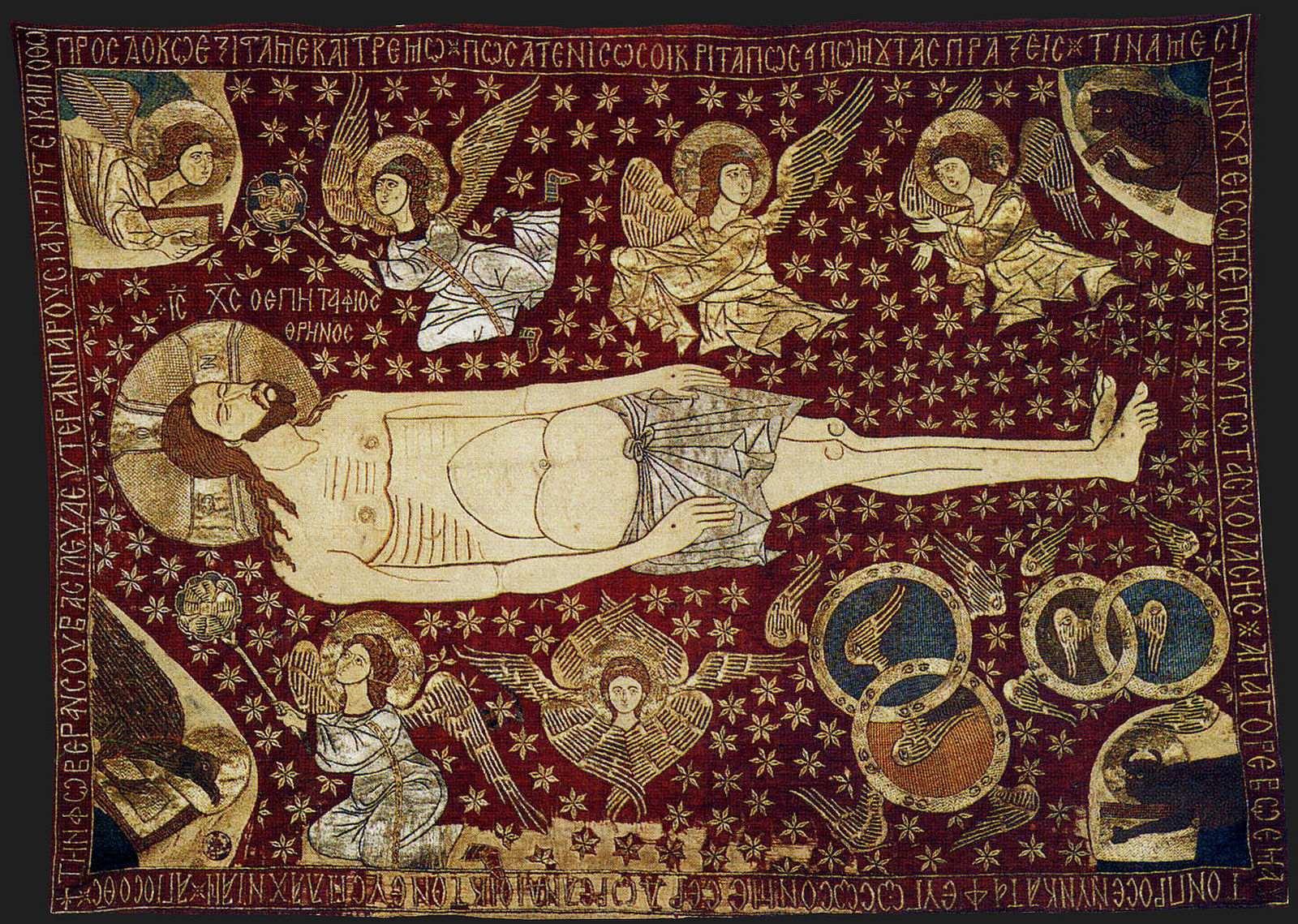 """Византийская плащаница """"Христос в окружении ангельских сил"""". XIV в. Монастырь Преображения Господня, Метеоры, Греция"""